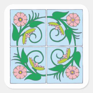 Flower tiles of more flower tiles square sticker