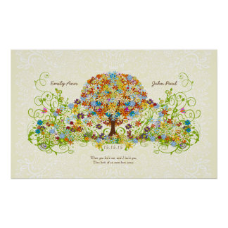 Flower Tree Print Damask Print for background