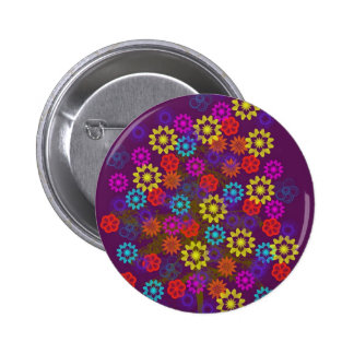 flower tree with neon sun pinback buttons