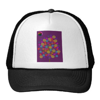 flower tree with neon sun trucker hat