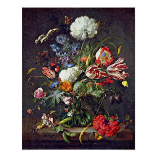 flower vase by Jan Davidsz. de Heem Poster