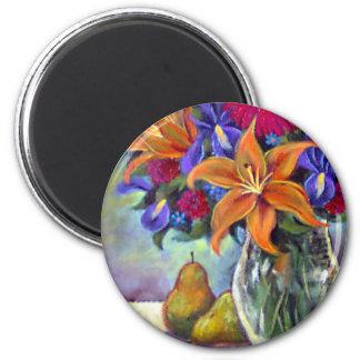 Flower Vase Pears Painting Art - Multi Magnet