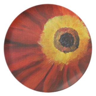Flower vivid painting Melamine Plate