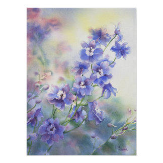 Flower watercolor poster of purple blue delphinium