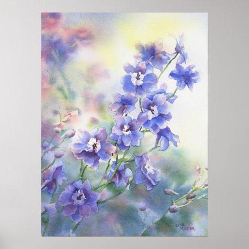 Flower watercolor poster of purple blue delphinium