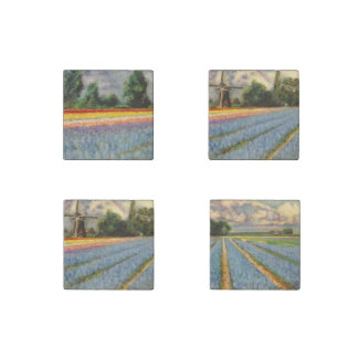 Flower Windmill Fine Art Impressionism Triptych Stone Magnet