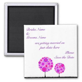Flower Wishing Tree Purple Save The Date Magnet