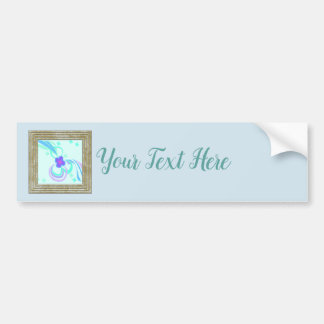 Flower With Blue Ribbons Bumper Sticker