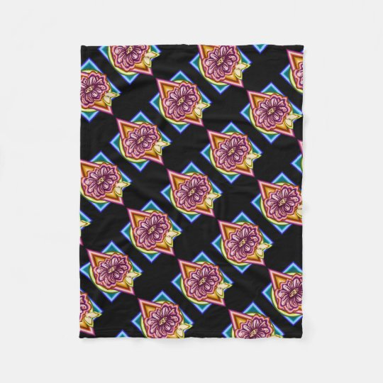 Flower with geometrical background fleece blanket