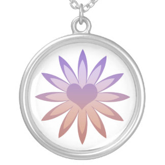 Flower with heart center in purple, pink, tan round pendant necklace