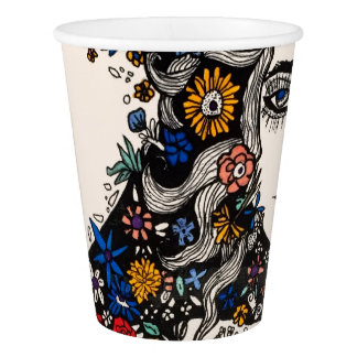 Flower woman paper cup