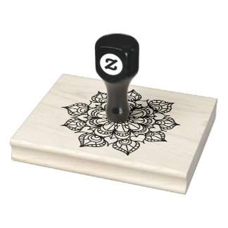 "Flower Wood Handle, Line Art, 4"" x 5"" Rubber Stamp"