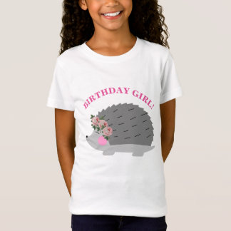 Flower Wreath Hedgehog Birthday Girl T-Shirt