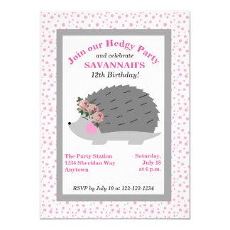 Flower Wreath Hedgehog Birthday Party Invitation