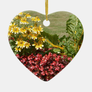 Flowerbed of coneflowers and begonias ceramic ornament