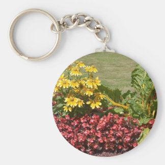 Flowerbed of coneflowers and begonias key ring