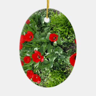 Flowerbed with red tulips ceramic oval decoration