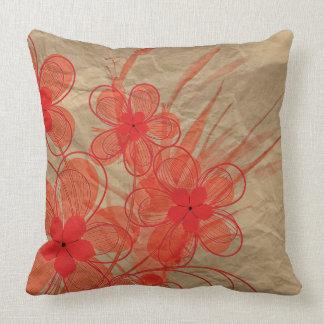 Flowered cushion, ruffled brown paper throw pillow