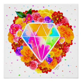 Flowered Diamond Poster
