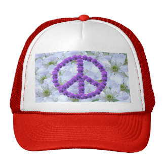 flowered peace sign cap