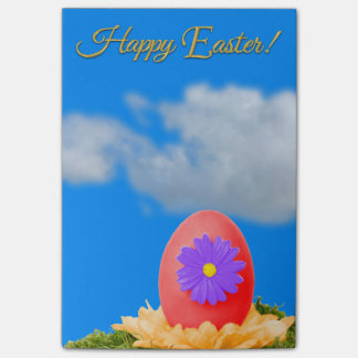 Flowered Red Easter Egg and Blue Sky Post-it Notes