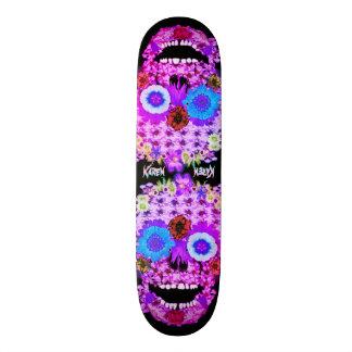 Flowered Sugar Skull Custom Skateboard