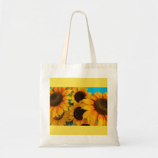 flowered sunflowers on Budget Tote