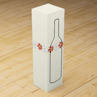 Flowered with bottle silhouette - Simple, elegant Wine Gift Box