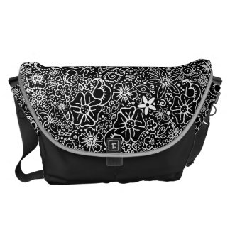 Flowerful Black & White Floral Messenger Bag