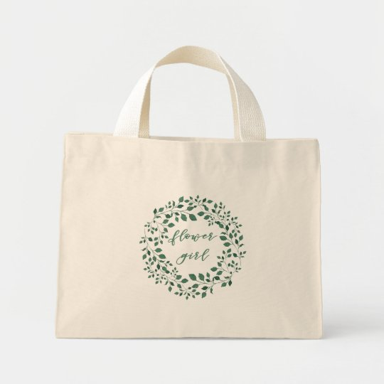 Flowergirl | Green Leaves Wreath Tote Bag