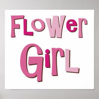 FlowerGirl Pink Brown Posters