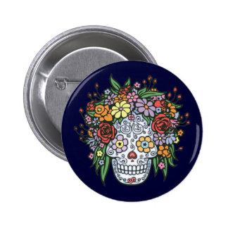 Flowerhair Sugar Skull 6 Cm Round Badge
