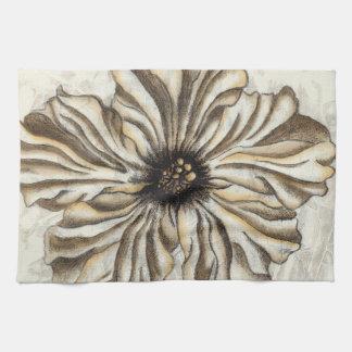 Flowerhead Fresco on Tan Background Tea Towel
