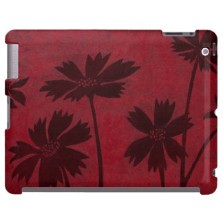 Flowerhead Silhouettes on Crimson Background