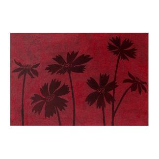 Flowerhead Silhouettes on Crimson Background Acrylic Wall Art