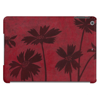 Flowerhead Silhouettes on Crimson Background Case For iPad Air