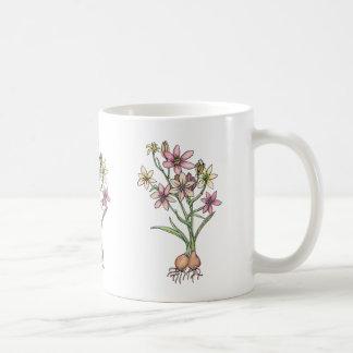 Flowering bulbs in muted tones of pinks and peach coffee mug