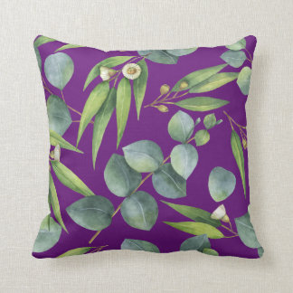 Flowering Eucalyptus Foliage Pattern Violet Cushion