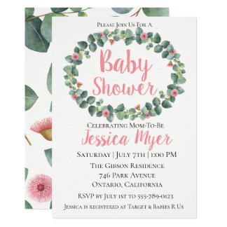 Flowering Eucalyptus Wreath Baby Shower Invitation