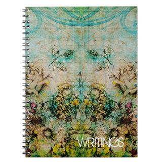 Flowering Faces - Green Spiral Notebook