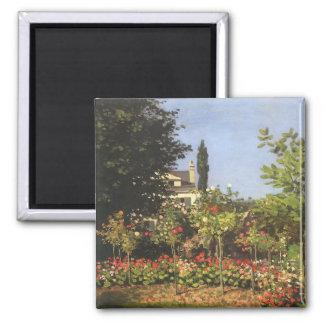 Flowering Garden at Sainte Adresse by Claude Monet Square Magnet