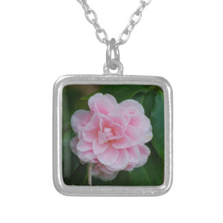 Flowering Pink Camelia Square Pendant Necklace