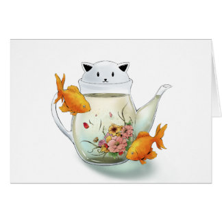 Flowering Tea in a Cat Teapot and Goldfish Card