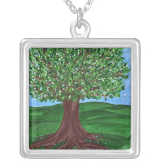 Flowering Tree Silver Square Necklace