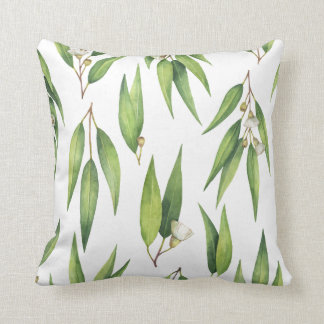 Flowering Willow Eucalyptus Leaves Pattern Cushion
