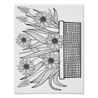 Flowerpot Cardstock Adult Coloring Page Poster
