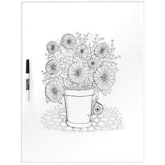 Flowerpot Snail Adult Coloring Dry Erase Board