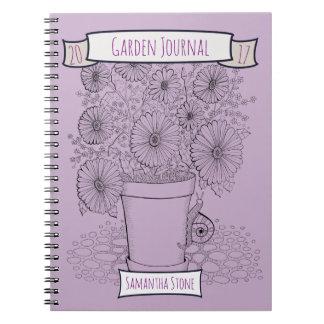 Flowerpot & Snail Lineart Design Spiral Notebook
