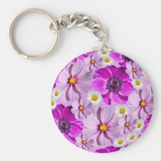 "Flowers 2.25"" Basic Button Keychain"