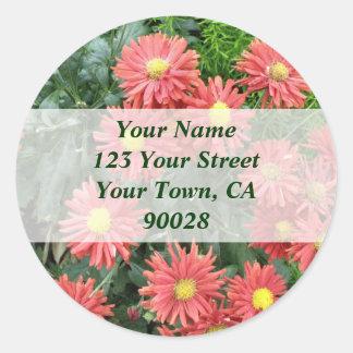 flowers address labels round sticker
